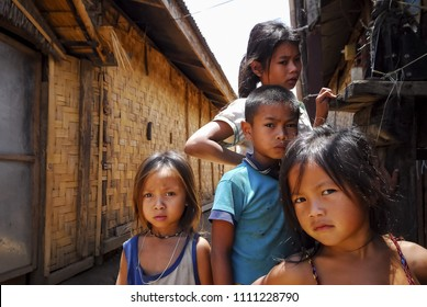 Karen children in Mae La refugee camp This photo was taken on October 14, 2013. At that time, around 140,000 refugees lived in nine refugee camps on the Thai-Myanmar border.