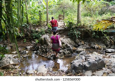 Karen tribe in the middle of the forest. Karen life on the mountain.Thailand.Karen life with nature on the jungle and Stream.Houses made of natural materials Asia rural people.