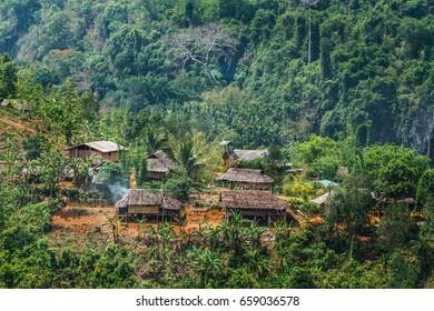 Karen village,Beautiful nature,Sufficient lifestyle Tha Song Yang District, Tak Province, Thailand.