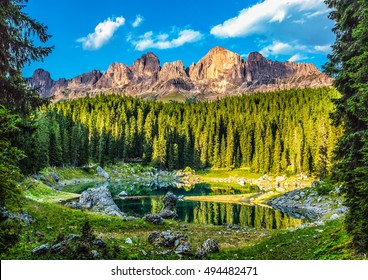 Karersee (Lago di Carezza), is a lake in the Dolomites in South Tyrol, Italy.