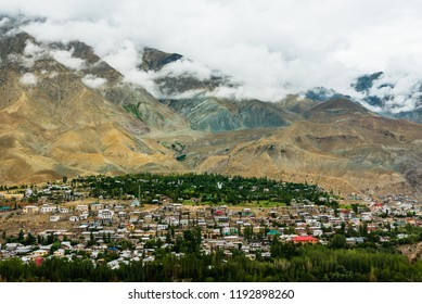 Kargil town in the morning of cloudy day, the town between Srinagar and Leh, Ladakh