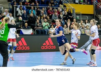 Kari Brattset shoot to score during women handball game between  Norway and  Russia  final score : 34 - 17  at IHF World Championship,  Germany 2017 - Quarter Finals, Magdeburg on 13.12.2017