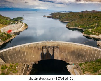 Kariba Dam from aerial view. Concrete arch dam in the Kariba Gorge of the Zambezi river basin between Zambia and Zimbabwe