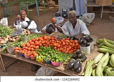 Karima, Sudan - November, 20, 2017: street market in a village near Nilo river