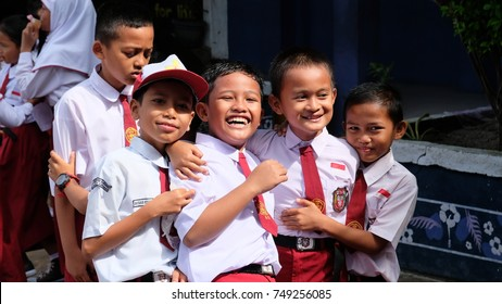 Karimun, Indonesia; Happiness all over the face of Children from  Sekolah Dasar Karimon during an International School Event, Kabupaten Karimon, Indonesia on 06/11/2017.