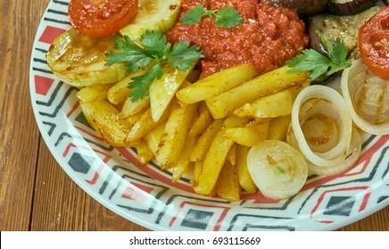 Karisik Kizartma - Mix of seasonal fried vegetables. Turkish cuisine