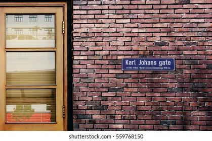 Karl Johans Gate street sign. The world's most famous street of Karl Johans Gate, Oslo, Norway.