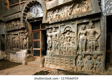 Karla Lonavala Maharashtra India October 11 2008 Main entrance dating around 2nd century BC the rock cut cave are among the oldest and finest example of buddhist time