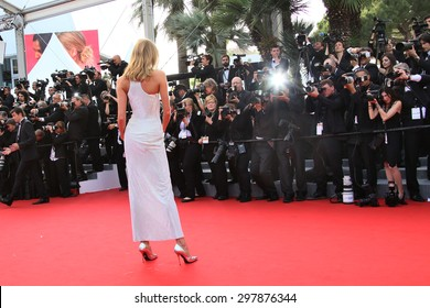 Karlie Kloss attends the opening ceremony and 'La Tete Haute' premiere during the 68th annual Cannes Film Festival on May 13, 2015 in Cannes, France.