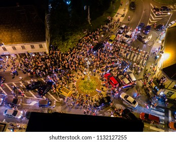 Karlovac, Croatia, 7/12/2018: Karlovac people celebrating after Croatia football team wins match against England in semifinals of World Cup in Russia and advance to Finals