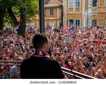 Karlovac, Croatia - 7/17/2018: Dejan Lovren visiting Karlovac after reaching second place in World Cup 2018 in Russia after losing to France, he is speaking to his fans