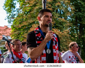 Karlovac, Croatia - 7/17/2018: Dejan Lovren visiting Karlovac after reaching second place in World Cup 2018 in Russia after losing to France