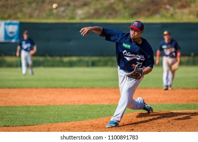 KARLOVAC, CROATIA - MAY 26, 2018: Euro Interleague Baseball match between Baseball Club Zagreb and BK Olimpija 83. Pitcher in action