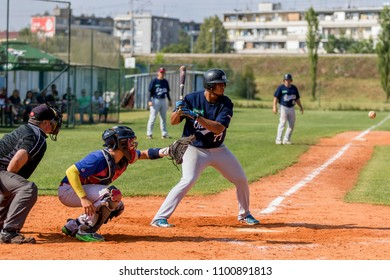 KARLOVAC, CROATIA - MAY 26, 2018: Euro Interleague Baseball match between Baseball Club Zagreb and BK Olimpija 83. Baseball hitter in action
