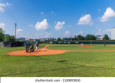 KARLOVAC, CROATIA - MAY 26, 2018: Euro Interleague Baseball match between Baseball Club Zagreb and BK Olimpija 83. Baseball players in action