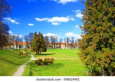 Karlovac in Croatia, town center with green park