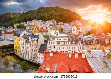 Karlovy Vary. Aerial image of Karlovy Vary (Carlsbad), located in western Bohemia at beautiful sunset.