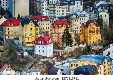 Karlovy Vary aerial panoramic famous spa town banner view, Czech Republic