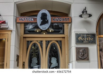 KARLOVY VARY - APRIL 2016: Hotel Mozart in which Johann Wolfgang von Goethe was a guest, Karlovy Vary, Czech Republic