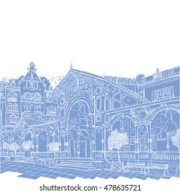 Karlovy Vary, Carlsbad, the famous spa city, Czech Republic, sketch hand drawn collection, world known for its mineral springs and resort. Tourists & travel  popular streets and routes.