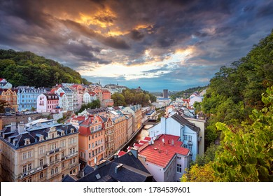 Karlovy Vary, Czech Republic. Aerial image of Karlovy Vary (Carlsbad), located in western Bohemia at beautiful sunset.