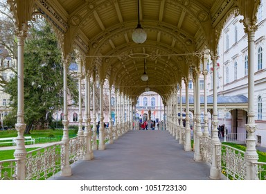 KARLOVY VARY, CZECH REPUBLIC - APRIL 28, 2017: World-famous for its mineral springs, the town Karlsbad