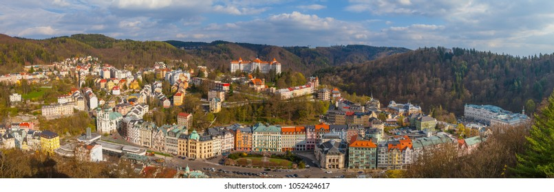 KARLOVY VARY, CZECH REPUBLIC - APRIL 29, 2017: Beautiful panoramic aerila view of spa town, former name Carlsbad