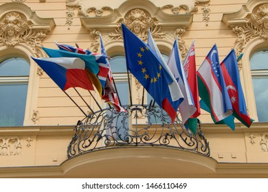 KARLOVY VARY, CZECH REPUBLIC - April 27, 2019: View of hotel with national flags in Karlovy Vary