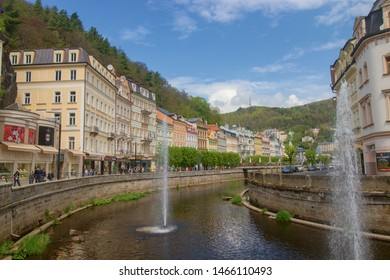 KARLOVY VARY, CZECH REPUBLIC - April 27, 2019: View of houses in Karlovy Vary