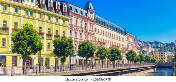 Karlovy Vary, Czech Republic, City Street, Famous city in western Bohemia, very popular tourist destination in Czech Republic
