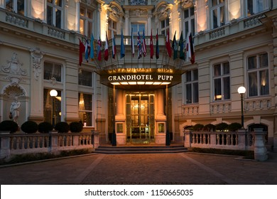 Karlovy vary, Czech republic - January 11, 2018: Entrance of Luxury Grandhotel Pupp in the evening. Famous guests in this hotel were Peter the Great, Karl Marks, Otto von Bismark etc.