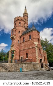 KARLOVY VARY, CZECH REPUBLIC - July 5, 2020:   Goethe´´ s Lookout, A Pseudo-Gothic restaurant for excursionists with a lookout tower