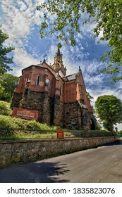 KARLOVY VARY, CZECH REPUBLIC - July 4, 2020: Anglican Church of Saint Lucas, Pseudo-Gothic two-aisle church in Karlovy Vary