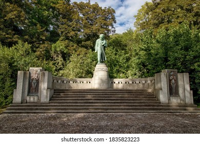 KARLOVY VARY, CZECH REPUBLIC - July 4, 2020:  Monument to Ludwig van Beethoven in Japanese Garden in Karlovy Vary