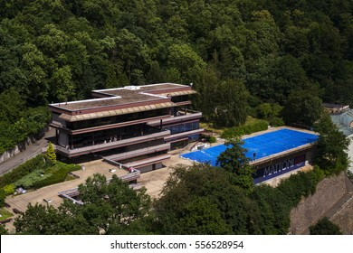 KARLOVY VARY, CZECH REPUBLIC - JULY 3: People by hotel Thermal pool during Karlovy Vary international film festival on July 3, 2016 in Karlovy Vary, Czech republic.