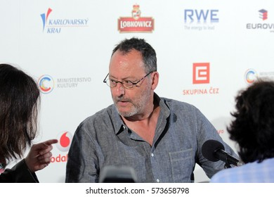 KARLOVY VARY, CZECH REPUBLIC JULY 4, 2016: Famous Actor Jean Reno attend a press conference and received the receive the Festival President's Award at Karlovy Vary International Film Festival