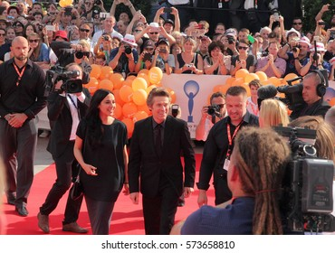 KARLOVY VARY, CZECH REPUBLIC JULY 1, 2016: Honour actor Willem Dafoe receive the Crystal Globe for Outstanding Contribution to World Cinema at Karlovy Vary International Film Festival opening ceremony