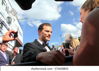 KARLOVY VARY, CZECH REPUBLIC JULY 1, 2016: Famous actor Jamie Dornan attends the screening of the film Anthropoid at Karlovy Vary International Film Festival