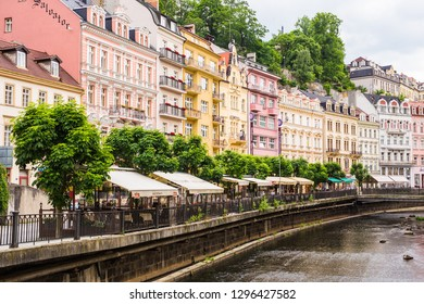 KARLOVY VARY, CZECH REPUBLIC - JUNE 12, 2017: Karlovy Vary view from river Tepla. Architecture of Karlovy Vary, Czech Republic. It is the most visited spa town in the Czech Republic
