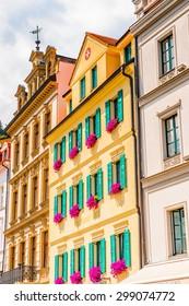 KARLOVY VARY, CZECH REPUBLIC - JUNE 30, 2015: Hotels in Karlovy Vary, Czech Republic. It is the most visited spa town in the Czech Republic