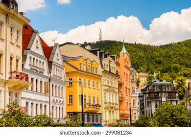 KARLOVY VARY, CZECH REPUBLIC - JUNE 30, 2015: Architecture of Karlovy Vary, Czech Republic. It is the most visited spa town in the Czech Republic
