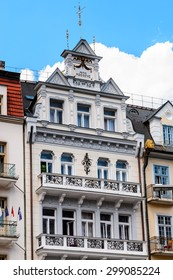 KARLOVY VARY, CZECH REPUBLIC - JUNE 30, 2015: Houses in Karlovy Vary, Czech Republic. It is the most visited spa town in the Czech Republic