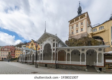 Karlovy Vary, Czech Republic - March 12, 2021: White wooden Market colonnade in the center of spa town Karlsbad