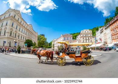 KARLOVY VARY, CZECH REPUBLIC - MAY 26, 2017: Carriage ride in in the city of Karlovy Vary. Czech Republic.