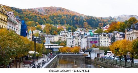 Karlovy Vary, Czech Republic - October 11, 2013: Embankment of Tepla river in center of Karlovy Vary in autumn