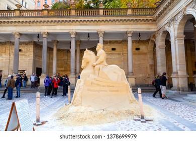 karlovy Vary, Czech Republic - October 20, 2018 -  Tomas Garrigue Masaryk sand sculpture on Mill Colonnade