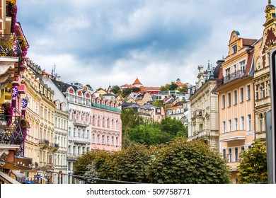 Karlovy Vary, Czech Republic, October 2016. View of Old Buildings of European city.