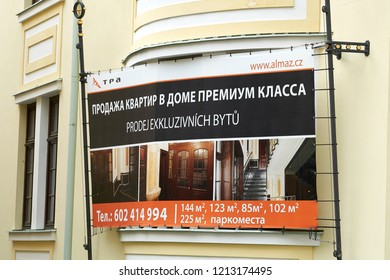 KARLOVY VARY, CZECH REPUBLIC – OKTOBER 02, 2018: Sale of exclusive luxurious condos for wealthy Russians on a refurbished villa in Karlovy Vary in the Czech Republic