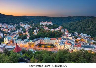 Karlovy Vary, Czech Republic. Panoramic aerial image of Karlovy Vary (Carlsbad), located in western Bohemia at beautiful sunrise.