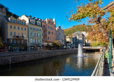 KARLOVY VARY, CZECH REPUBLIC – SEPTEMBER 30, 2018: historic old town of Karlovy Vary in the Czech Republic with the river Tepla.